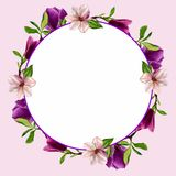 Cartes postales avec des fleurs de magnolia Aquarelle faite main Pour la conception de vos invitations au mariage, félicitations  Images libres de droits