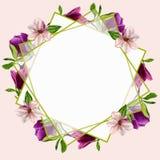 Cartes postales avec des fleurs de magnolia Pour votre conception des invitations au mariage, félicitations sur votre anniversair Images stock