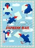 Cartes postales dépeignant des oiseaux et des lettres illustration stock
