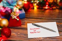 Cartes postales de félicitations de vacances d'écriture Photos libres de droits