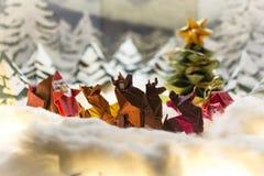 Cartes postales de Joyeux Noël et bonnes fêtes d'origami photo libre de droits