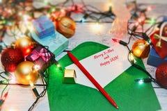 Cartes postales de signature dans le réveillon de Noël Images libres de droits