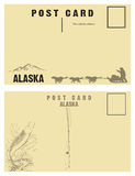 Cartes postales de vintage pour l'état de l'Alaska Photos stock