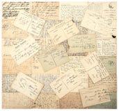 Cartes postales de vintage textes non définis manuscrits Photos libres de droits