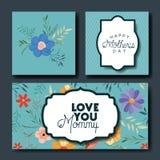 Cartes postales fabriquées à la main de police de jour de mères réglées Photographie stock libre de droits