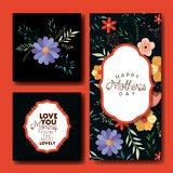 Cartes postales fabriquées à la main de police de jour de mères réglées Photographie stock