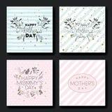 Cartes postales fabriquées à la main de police de jour de mères réglées Photos stock