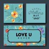 Cartes postales fabriquées à la main de police de jour de mères réglées Image stock