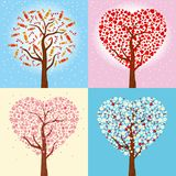 Cartes postales jour pour de Noël, de nouvelle année et de Valentine ` s Hiver de vacances et collection de ressort d'arbres dans Photos stock