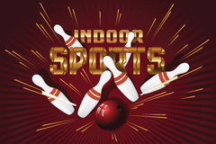 Cartes postales promotionnelles de calibre de vecteur Sports d'intérieur bowling Photo stock