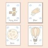 Cartes postales tirées par la main mignonnes de griffonnage avec l'oiseau, comète, lune, ballon La bande dessinée objecte le fond Photo stock