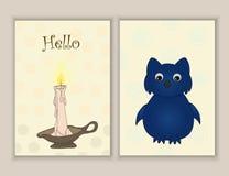 Cartes postales tirées par la main mignonnes de griffonnage avec la bougie, hibou Calibres imprimables réglés Photographie stock libre de droits