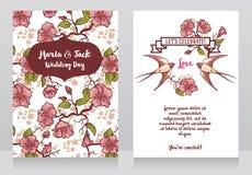 Cartes pour épouser avec les branches d'arbre et les couples de floraison d'hirondelles illustration de vecteur