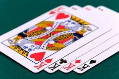 Cartes quatre ou deux rois de la carte 02 photographie stock libre de droits