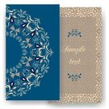 Cartes romantiques de vintage Décorations florales, feuilles, ornements de modèles de fleurs Photographie stock libre de droits