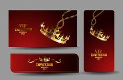 Cartes rouges de VIP avec la couronne texturisée brillante Photos libres de droits