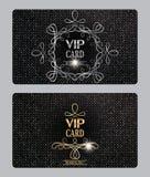 Cartes texturisées de VIP avec des éléments de conception florale Image libre de droits