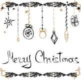 Cartes tirées par la main de Noël Image libre de droits