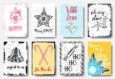 Cartes tirées par la main de Noël avec la calligraphie 2018, joyeux MAS de X, W illustration libre de droits