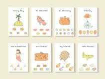 Cartes tirées par la main mignonnes de fête de naissance de griffonnage Image libre de droits