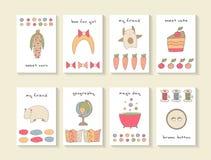 Cartes tirées par la main mignonnes de fête de naissance de griffonnage Photo libre de droits