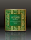 Cartes vertes d'invitation de vintage avec l'ornement d'or Photo stock