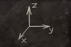 Cartesian coordinate system on blackboard Stock Photo