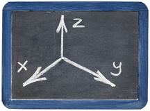 Cartesian coordinates xyz on blackboard Stock Photos