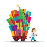 Cartful von Geschenken stockfoto