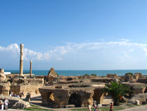 Carthage. Ruins of Carthage and view to mediterranean sea Stock Photos