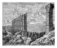 Carthage, ancient Roman aqueduct ruins, vintage engraving. Ruins of the ancient aqueduct of Carthage,  one of the most longest of the Roman empire, XIX century Royalty Free Stock Images