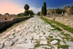 Carthage - Ancient Roman paved. View of the ancient Roman paved road in the Roman Villas in Carthage, Tunisia