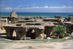 Carthage - Baths of Antoninus Pius. Tunisia. Ancient Carthage. General view of Antonine Baths - fragment of ruined caldarium (the hottest room) and steamroom Royalty Free Stock Photography