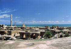 Carthage - Baths of Antoninus Pius. Tunisia. Ancient Carthage. General view of Antonine Baths - ruined caldarium (the hottest room) and steam room on first plan Royalty Free Stock Images