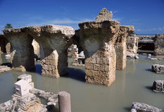 Carthage - Baths of Antoninus Pius. Tunisia. Ancient Carthage. General view of Antonine Baths - ruins under water after torrential rains Royalty Free Stock Photography