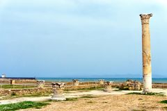 Carthage Ruins with Sea Background, Tunisia stock photo