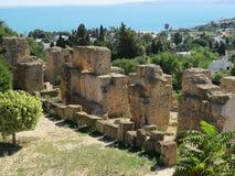 Carthago fördärvar av huvudstad av den forntida Carthaginian civilisationen Lokal för Unesco-världsarv arkivfoton