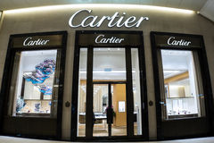 Cartier fashion house boutique display window. Hong Kong Stock Photos