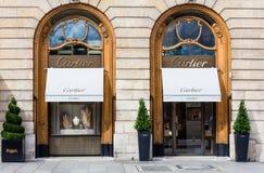 Cartierwinkel op zijn plaats Vendome in Parijs Stock Afbeelding