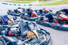 Carting machines on the track Royalty Free Stock Photography