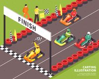 Carting Race Finish Background. Isometric carting composition with view of outdoor race course and racing drivers riding carts with text vector illustration Stock Photography