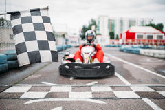 Carting racer on start line, front view Stock Photography