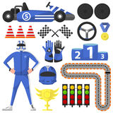 Carting Rally Car and Victory Symbols Collection Stock Images