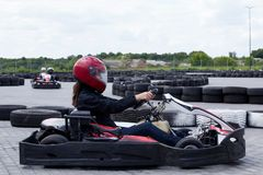 Carting on a sports track stock images