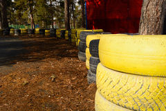 Carting track made of an old painted tires Royalty Free Stock Images