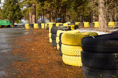 Carting track made of an old painted tires Royalty Free Stock Photo