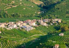Cartizze and Prosecco vineyards. Cartizze hills vineyards and caves in Valdobbiadene area, where Prosecco wines are grown Royalty Free Stock Images