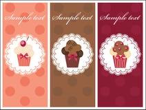 Cartão bonito com queques doces. Fotografia de Stock Royalty Free