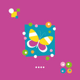 Cartão bonito da borboleta e dos pontos Fotos de Stock