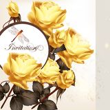 Cartão bonito do convite com rosas Imagem de Stock Royalty Free